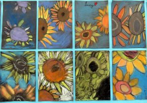 Sunflowers inspire art in 2nd and 5th classes
