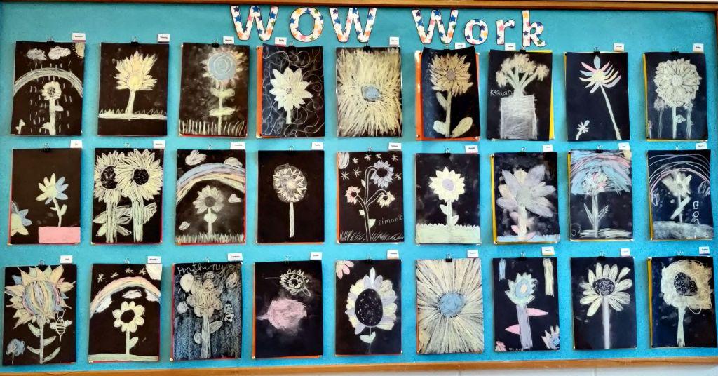 2nd class chalk flowers